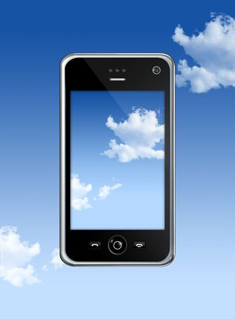 three dimensional mobile phone isolated on a blue sky  photo