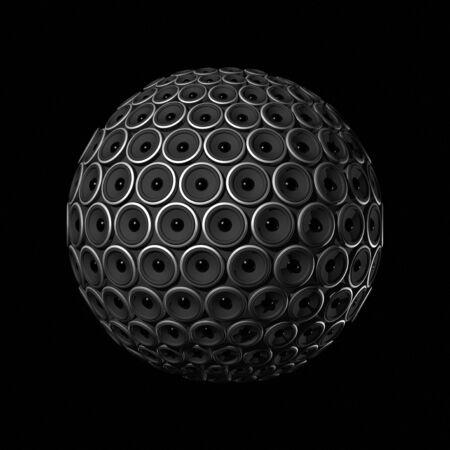 three dimensional speakers sphere isolated on black Stock Photo - 5651428