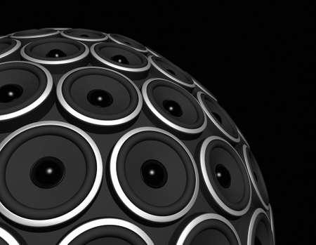 three dimensional speakers sphere isolated on black photo