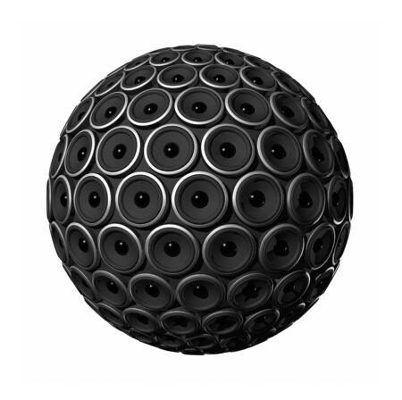 tweeter: three dimensional speakers sphere isolated on white