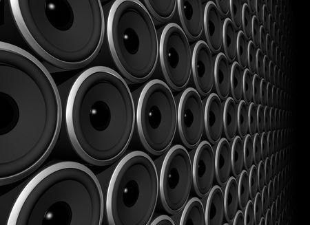 tweeter: three dimensional speakers wall isolated on black