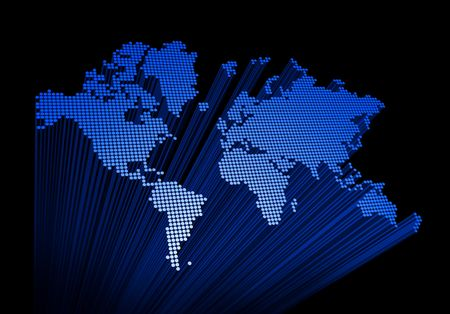 three dimensional spotted world map on black background Stock Photo - 5651480