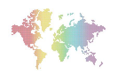 rainbow spotted world map on white background photo