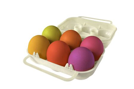 easter eggbox whith six colored eggs photo