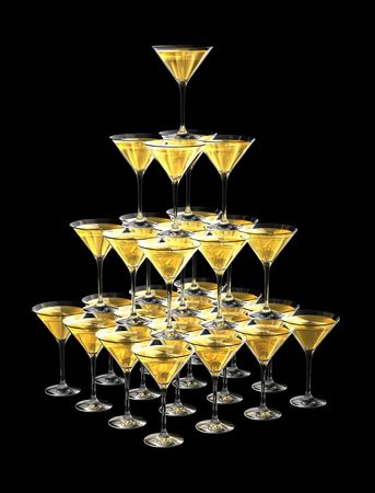 3D pyramid of champagne glasses isolated on black background. three dimensional illustration