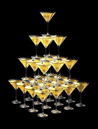 rainbow cocktail: Piramide 3D di bicchieri di champagne isolato su sfondo nero. tre illustrazione dimensionale Archivio Fotografico