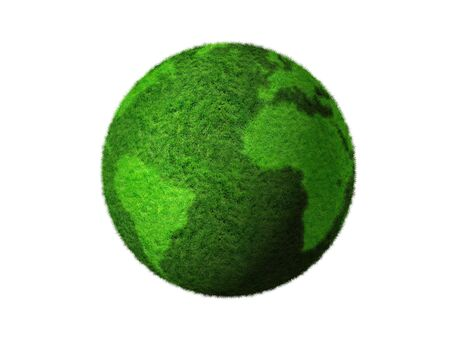 planisphere: grass earth globe isolated on white - three dimensional illustration
