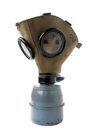 old gas mask on a white background photo