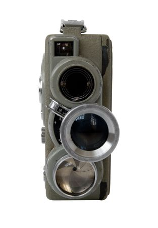 16mm: old 8mm movie camera on white background