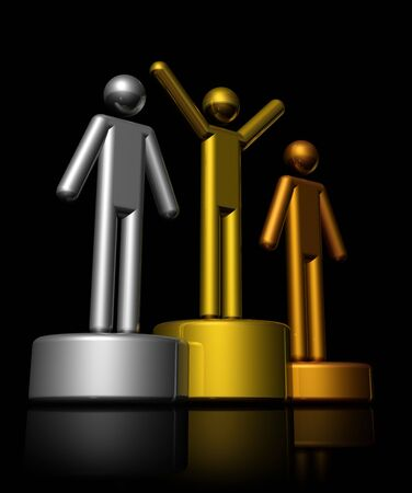 picto: podium with bronze, silver and gold winners - three dimensional illustration isolated on black