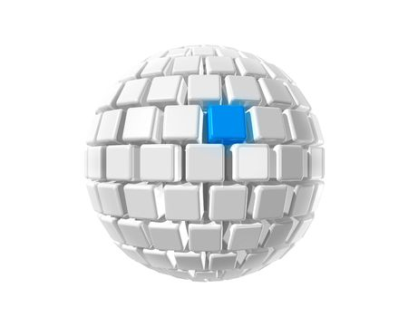 Isolated three dimensional white sphere made of cubes whith a blue selected cube photo