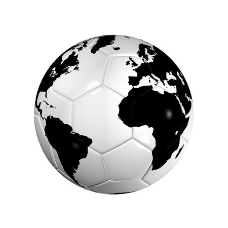 3D isolated Black and white soccer ball with world map, world football cup 2010 photo
