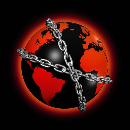 3D icon illustration of a chained world globe Stock Illustration - 6262246