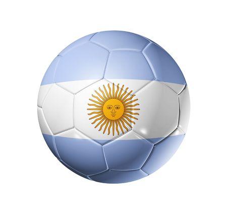 flag of argentina: Bal�n de f�tbol 3D con bandera de equipo de Argentina, la Copa Mundial de F�tbol 2010. Foto de archivo