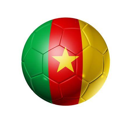 cameroon: Pallone da calcio 3D con bandiera di squadra Camerun, Coppa del mondo di calcio 2010
