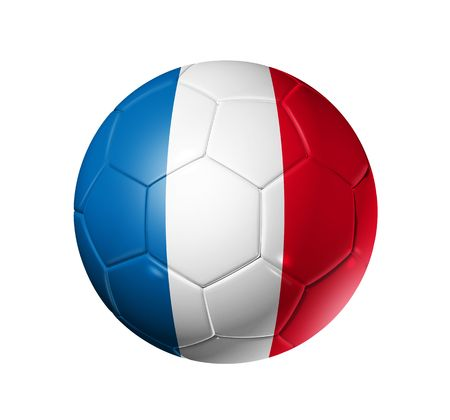 pelota de futbol: Bal�n de f�tbol 3D con bandera de equipo de Francia, la Copa Mundial de F�tbol 2010.