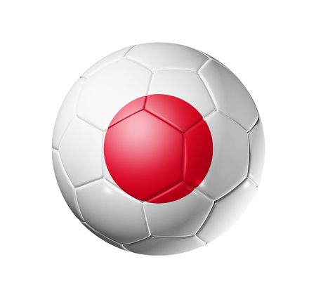 japanese flag: 3D soccer ball with Japan team flag, world football cup 2010.