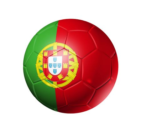 portuguese: 3D soccer ball with Portugal team flag, world football cup 2010. Stock Photo