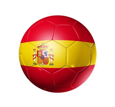 spanish flag: 3D soccer ball with Spain team flag, world football cup 2010.