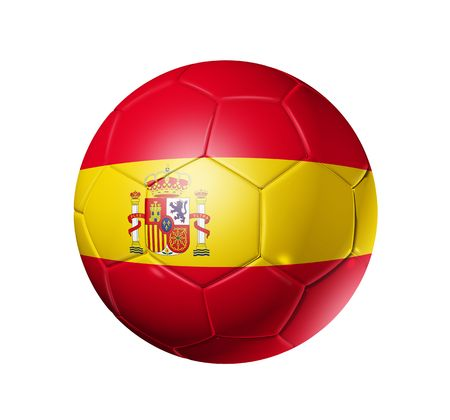 pelota de futbol: Bal�n de f�tbol 3D con bandera de equipo de Espa�a, Copa Mundial de F�tbol 2010.