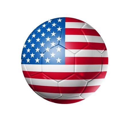 pelota de futbol: Bal�n de f�tbol 3D con bandera de equipo de Estados Unidos, la Copa Mundial de F�tbol 2010. Foto de archivo