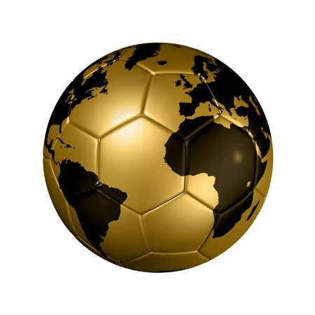 soccer ball: 3D isolated gold soccer ball with world map, world football cup 2010