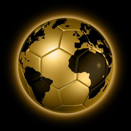 world ball: 3D isolated gold soccer ball with world map, world football cup 2010