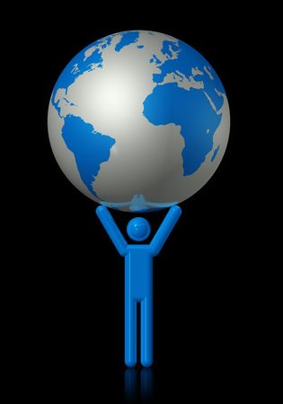 planisphere: 3D icon illustration of man carrying a world globe