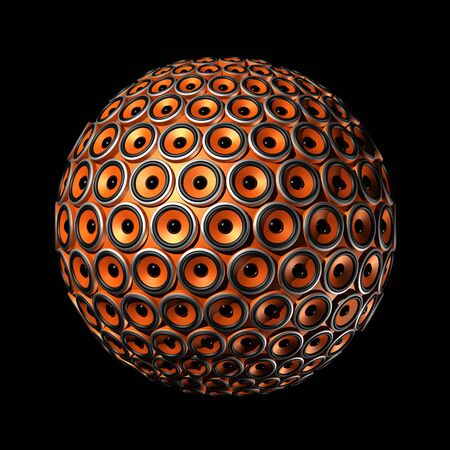 soundsystem: three dimensional sphere made of orange speakers - isolated on black Stock Photo