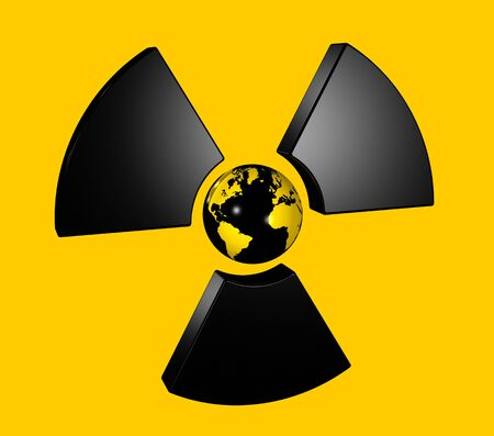 infectious waste: 3D isolated world globe in the center of a radioactive symbol icon Stock Photo