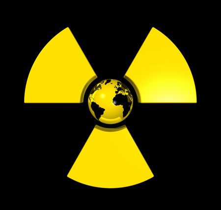 3D isolated world globe in the center of a radioactive symbol icon photo