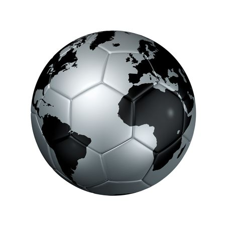 3D isolated silver soccer ball with world map, world football cup 2010 photo