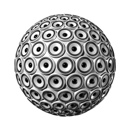three dimensional sphere made of white speakers - isolated on white Stock Photo - 6262250