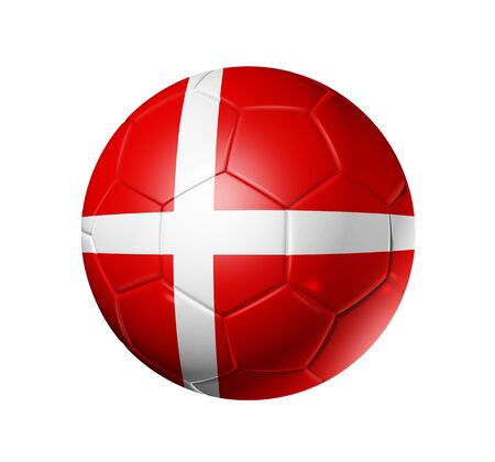 danish flag: 3D soccer ball with Denmark team flag, world football cup 2010.