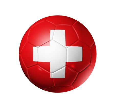 swiss: 3D soccer ball with Switzerland team flag, world football cup 2010.