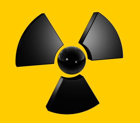 3D radioactive symbol isolated on yellow Stock Photo - 6262467
