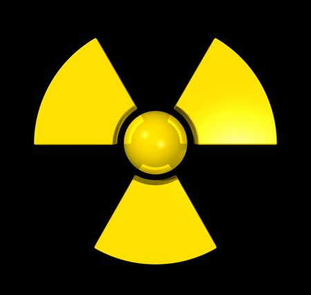 3D radioactive symbol isolated on black photo