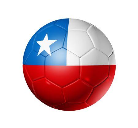 chilean flag: Bal�n de f�tbol 3D con bandera de equipo de Chile, la Copa Mundial de F�tbol 2010.