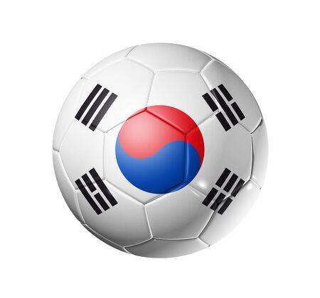 south korea flag: 3D soccer ball with south Korea team flag, world football cup 2010.  Stock Photo