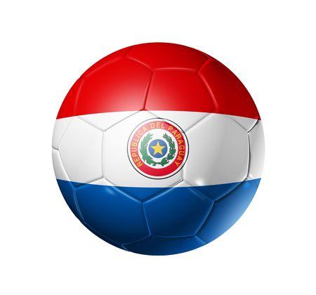 bandera de paraguay: Bal�n de f�tbol 3D con bandera de equipo de Paraguay, la Copa Mundial de F�tbol 2010.
