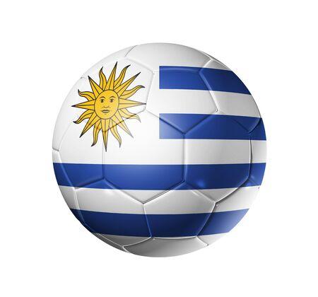 bandera de uruguay: Bal�n de f�tbol 3D con bandera de equipo de Uruguay, la Copa Mundial de F�tbol 2010.