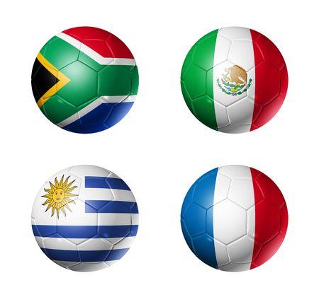 banderas del mundo: Taza de pelotas de f�tbol 3D con banderas de equipos A de grupo, Mundial de F�tbol 2010. aislados en blanco