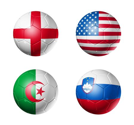 3D soccer balls with group C teams flags, world football cup 2010. isolated on white photo