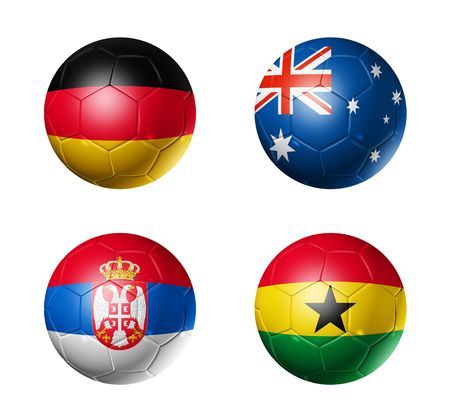 3D soccer balls with group D teams flags, world football cup 2010. isolated on white photo