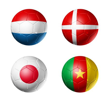 denmark flag: 3D soccer balls with group E teams flags, world football cup 2010. isolated on white Stock Photo