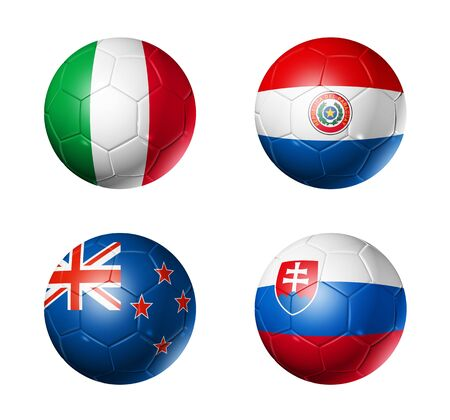 3D soccer balls with group F teams flags, world football cup 2010. isolated on white photo