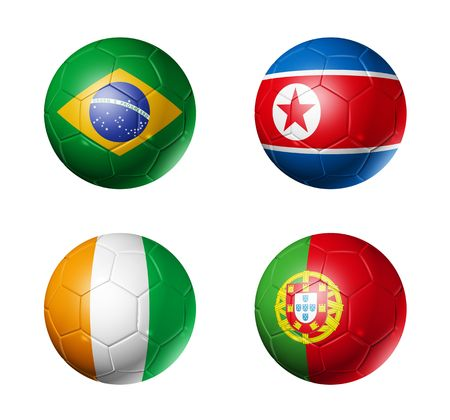 soccerball: 3D soccer balls with group G teams flags, world football cup 2010. isolated on white Stock Photo