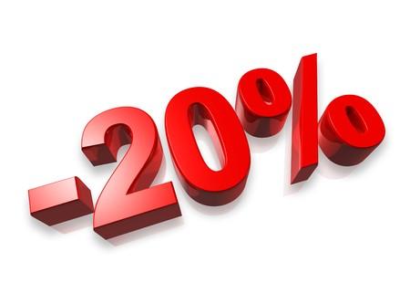20: n�mero 3D de veinte por ciento aislado en blanco - 20 %  Foto de archivo