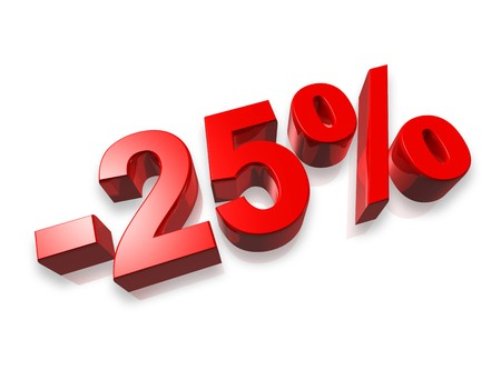 twenty five percent 3D number isolated on white - 25% Stock Photo - 7072901