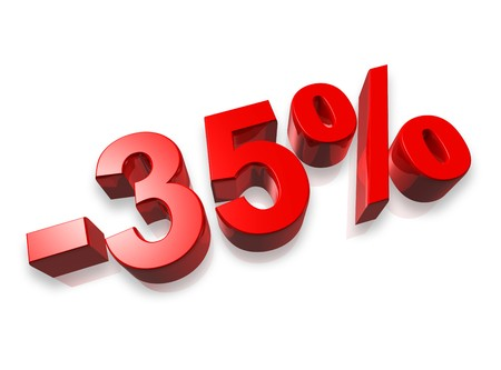 thirty five: numero trentacinque per cento 3D isolata on white - 35 %